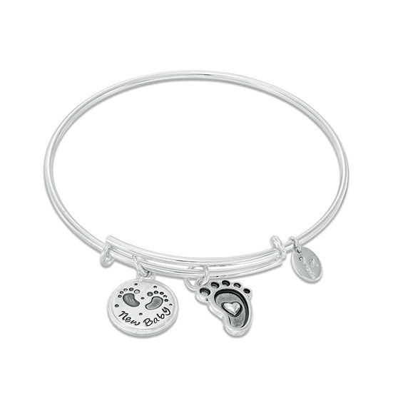 """Chrysalis """"New Baby"""" Charms Adjustable Bangle in White Brass"""