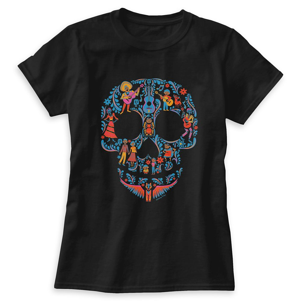 Coco Colorful Character Skull Graphic T-Shirt for Women Customizable Official shopDisney
