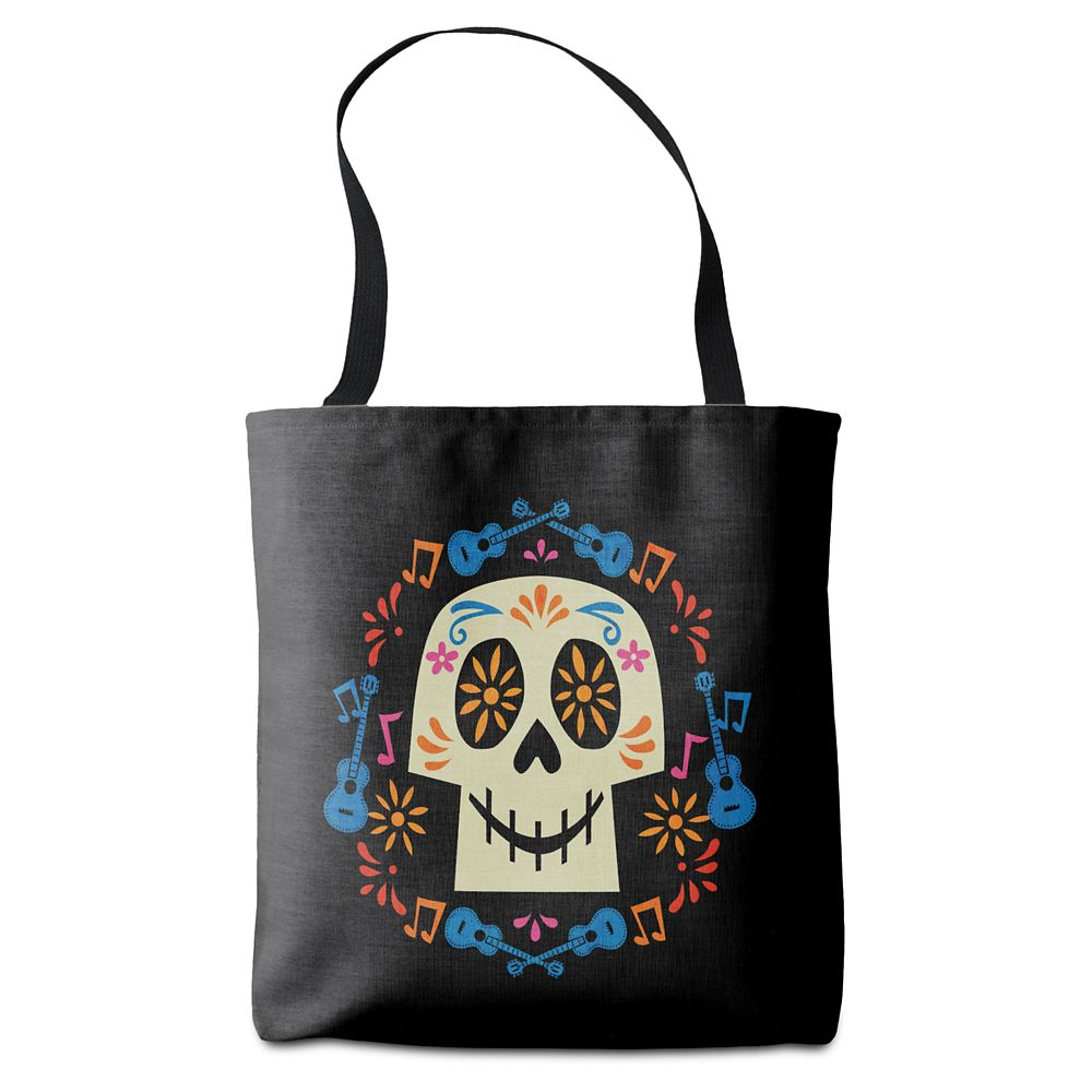 Coco Skull with Guitars & Flowers Tote Bag Customizable Official shopDisney