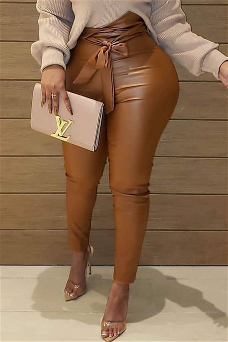 Coffee Fashion Casual Skinny Solid Trousers