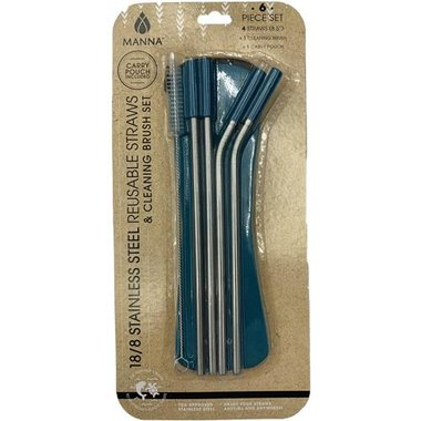 Core Home 26322 6-Piece Straws With Tips And Cleaner Set Travel Kit