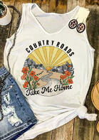 Country Roads Take Me Home Floral Tank - White