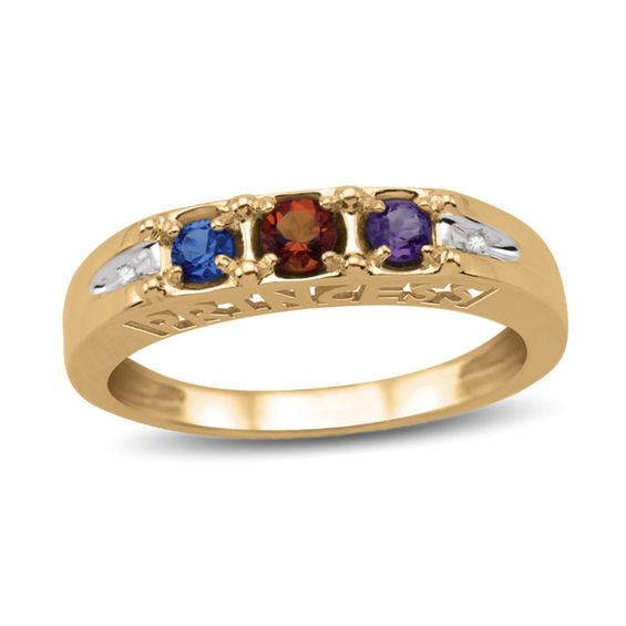 "Daughter's Birthstone and Diamond Accent ""princess"" Ring (3 Stones)"
