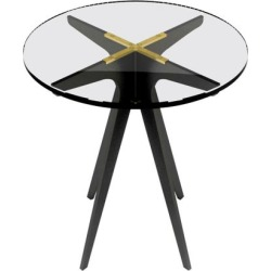 Dean Round Side Table In Blackened Steel Base And Glass Top By Gabriel Scott