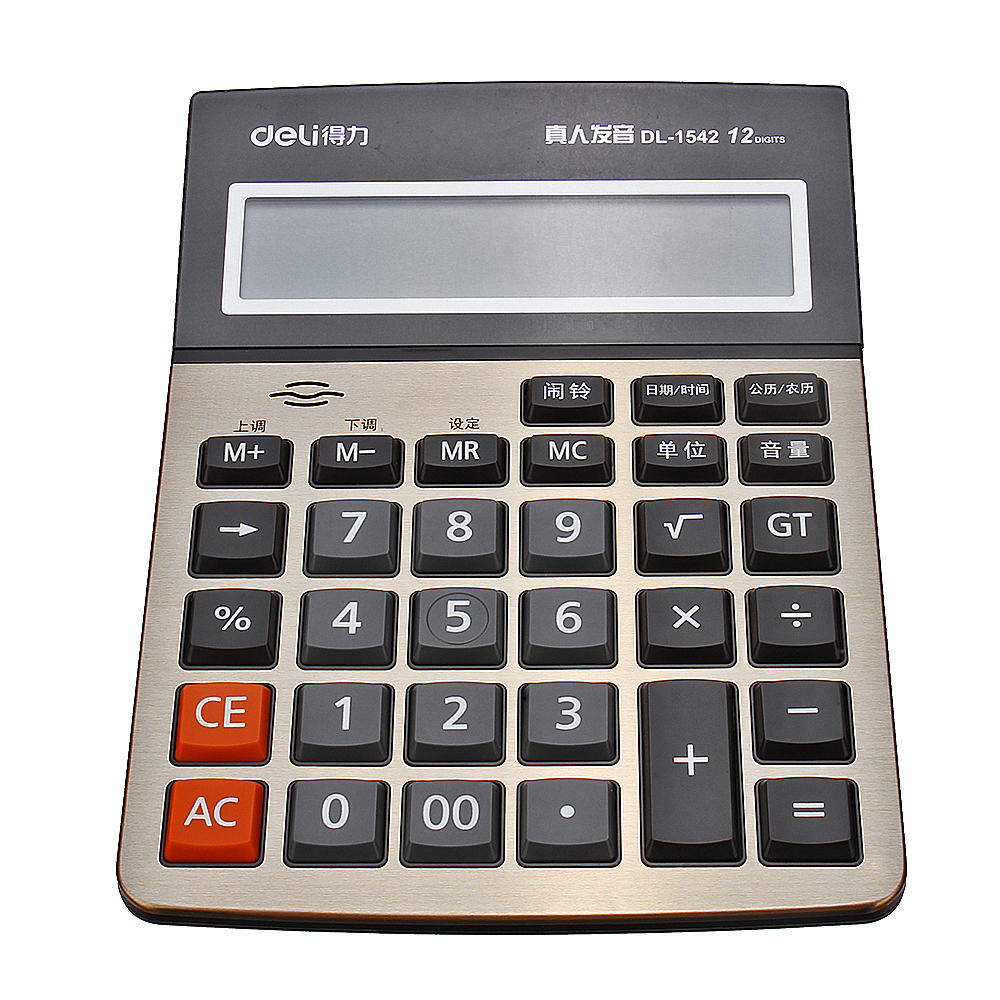 Deli 1542A Calculator Business Office Household Computer Voice Large Screen Financial Calculator