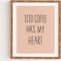 Deny Designs Iced Coffee Has My Heart Framed Wall Art