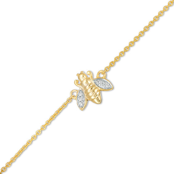 Diamond Accent Bumblebee Anklet in Sterling Silver with 14K Gold Plate