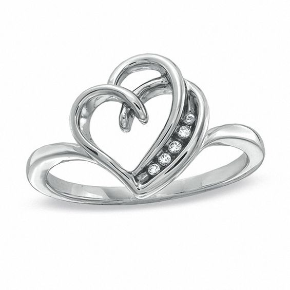 Diamond Accent Double Outline Heart Ring in Sterling Silver