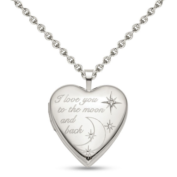 """Diamond Accent """"I love you to the moon and back"""" Heart Locket in"""