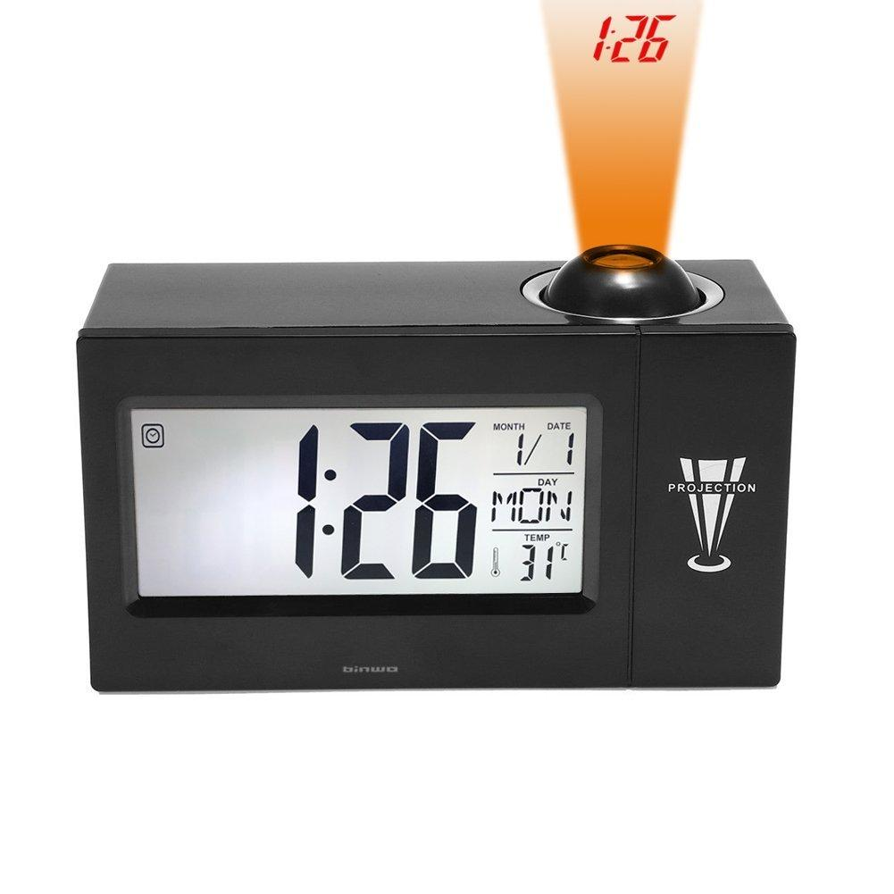 """Digital Clock Binwo Bedside Time Projection Alarm Clock With 4"""" BIG LED Display For Day Date TemperatureHumidityLoud"""