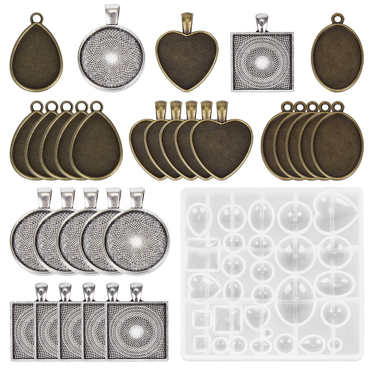 DIY Resin Casting Molds Silicone Jewelry Pendant Craft Making Mould Pendant Tray
