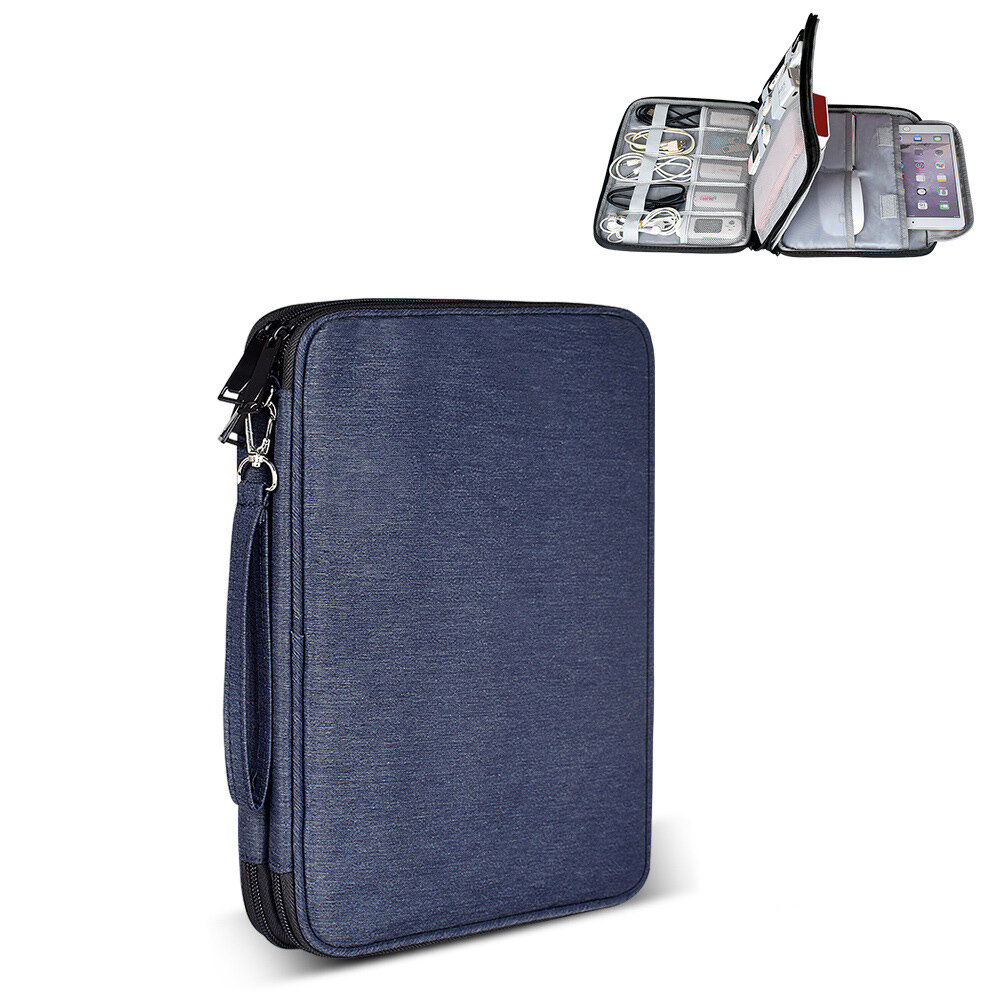 Double-Layer Laptop Storage Bag Portable Electronic Accessories Travel Organizer Bag Waterproof Data Cable Organizer