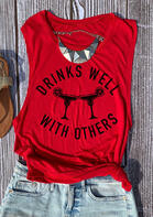 Drinks Well with Others Tank without Necklace - Red