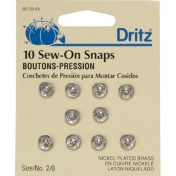 Dritz Nickel Plated Sew On Snaps Size 4/0 - Size 2/0