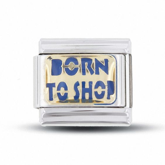 Enamel 'Born To Shop' Italian Charm in Stainless Steel with 18K