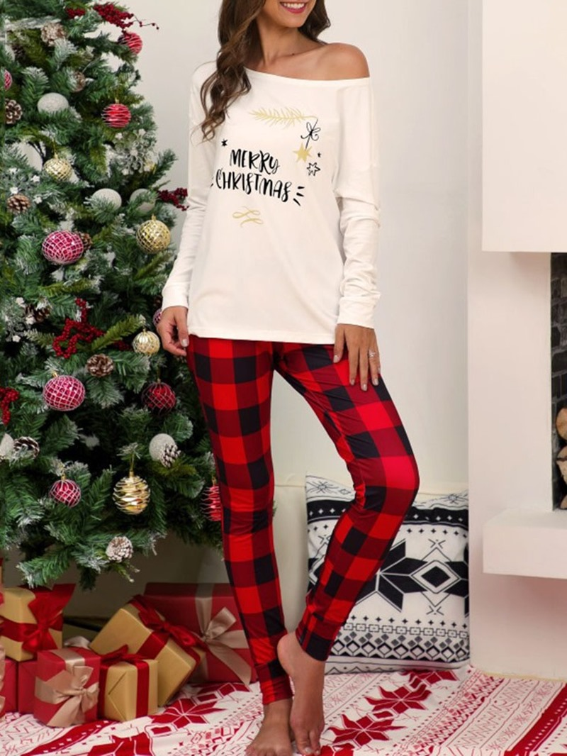 Ericdress Christmas Patchwork Letter Pullover Happy Holidays Two Piece Sets