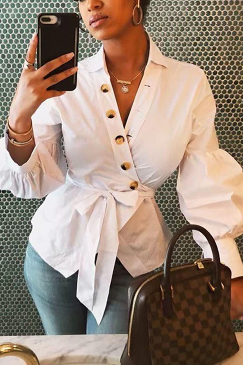 Fashion Casual Bishop Sleeve White Solid Tops