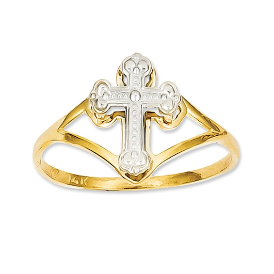Flare Cross Ring in 14K Two-Tone Gold
