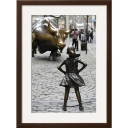 Framed Art: Fearless Girl Wall Street, 31x23in.
