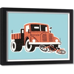 Framed Print. Bicycle hit by a truck