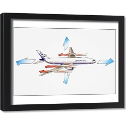 Framed Print. Boeing 777, American long-range wide-body twin-engined airliner