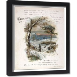 Framed Print. Book illustration -- December