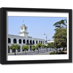 Framed Print. Cabildo, former seat of the colonial government in Salta, Argentina, South America