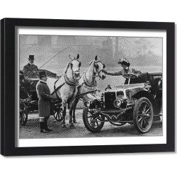 Framed Print. Cars And Horses