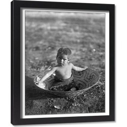 Framed Print. CURTIS: MARICOPA CHILD. A Maricopa Native American child sitting in a basket in