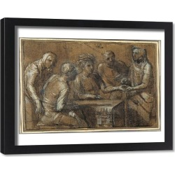 Framed Print. Five figures in an interior (charcoal heightened with white body colour)