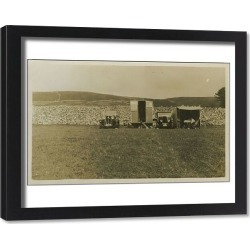 Framed Print. Galloway and Standard 10 Vintage Cars with Caravan