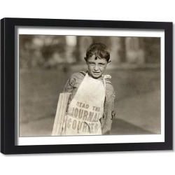 Framed Print. HINE: NEWSBOYS, 1924. A young newsboy selling newspapers in Hartford, Connecticut