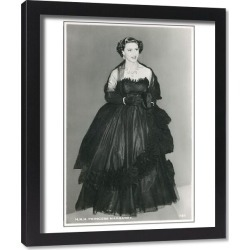Framed Print. HRH Princess Margaret in a black Dior Dress