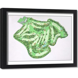 Framed Print. Illustrated map of Augusta National Golf Course, Augusta, Georgia, USA