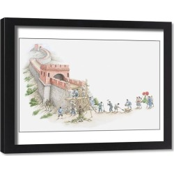 Framed Print. Illustration of construction of Great Wall of China