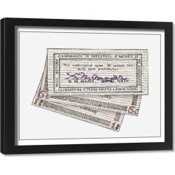 Framed Print. Illustration of signed wooden banknotes issued in Tenino in 1932