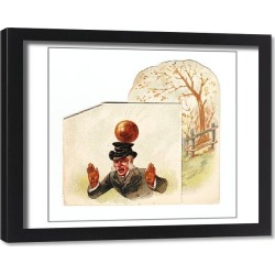 Framed Print. Man hit by football on a greetings card