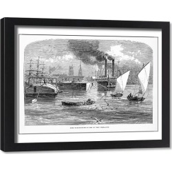 Framed Print. Mississippi River at New Orleans, Louisiana, United States, American Victorian Engraving, 1872