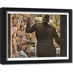 Framed Print. Officer brings Good News to Soldiers in Sleeping Quarters Date: 1943