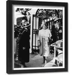 Framed Print. Queen Elizabeth with Superintendent Peto, WW2