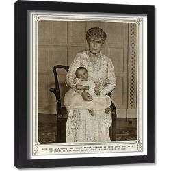 Framed Print. Queen Mary with grandchild Prince Edward