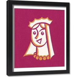 Framed Print. Queen Wearing Crown and Veil