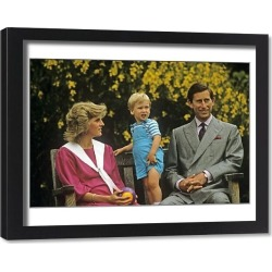 Framed Print. Royal Family- Prince Charles, William and princess Diana