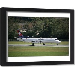 Framed Print. SAAB 2000 of Darwin Airline to launch scheduled flights