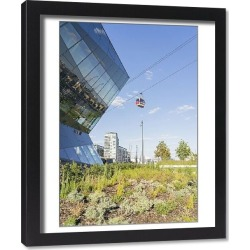 Framed Print. The Crystal building and the Emirates Airline Cable car, London, England, UK