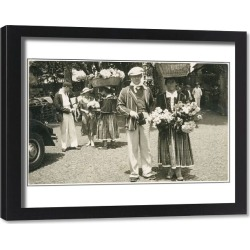 Framed Print. Traditional flower sellers in Madeira, Portugal. Date: circa 1930s