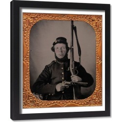 Framed Print. Union Private with Musket and Pistol, 1861-65. Creator: Unknown