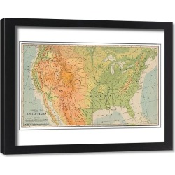 Framed Print. United States physical map 1898
