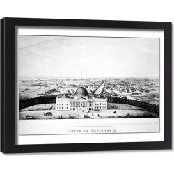 Framed Print. U.S. CAPITOL, 1850. A view of the United States Capitol, Washington, D.C. Lithograph
