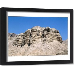 Framed Print. View of the Qumran Caves, where the Dead Sea Scrolls were discovered in 1947 (photo)